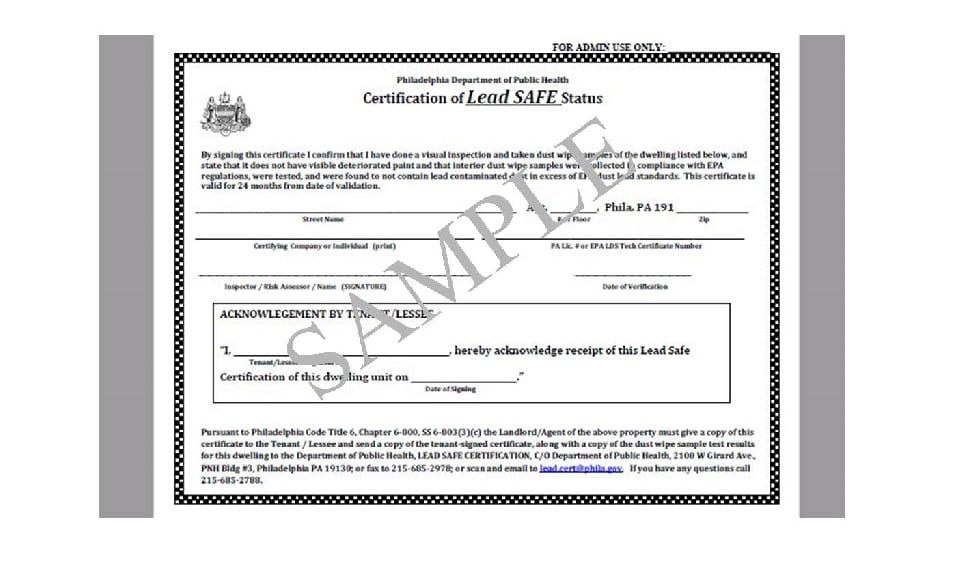 Lead-Safe Certification for Philadelphia Landlords