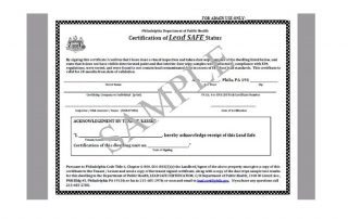 lead paint inspection certificate