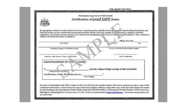 lead paint inspection certificate